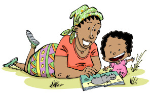 Mother sharing a wordless picture book with child